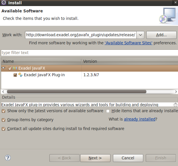 Eclipse update site for Exadel JavaFX plug-in – Max Katz