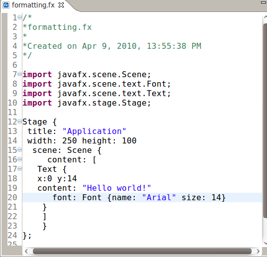 New feature in Exadel JavaFX plug-in for Eclipse: script formatting