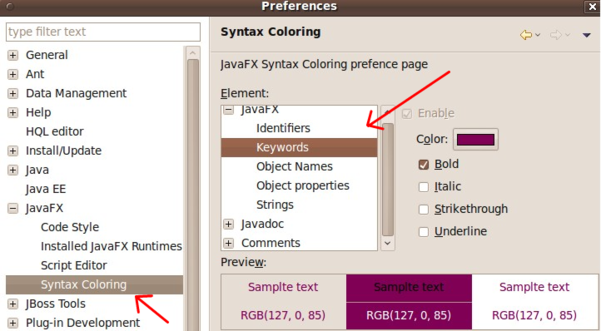 Exadel JavaFX Plug-in for Eclipse preferences page [in