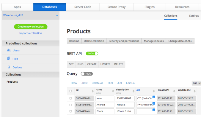 Appery.io Backend Services:  Database (development and runtime)