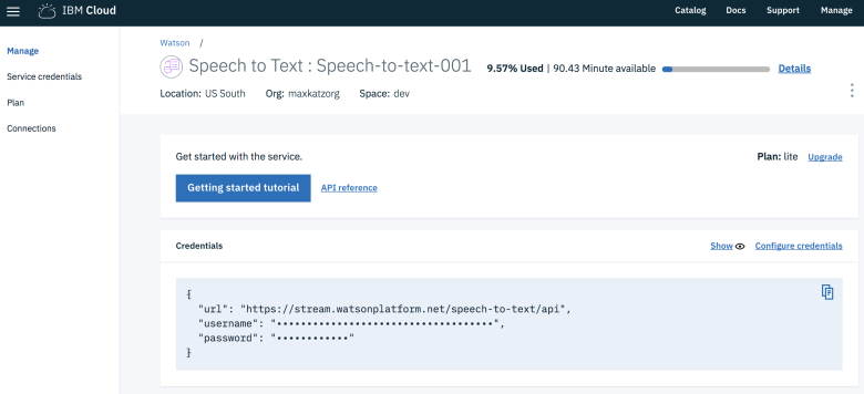 Speech to Text service